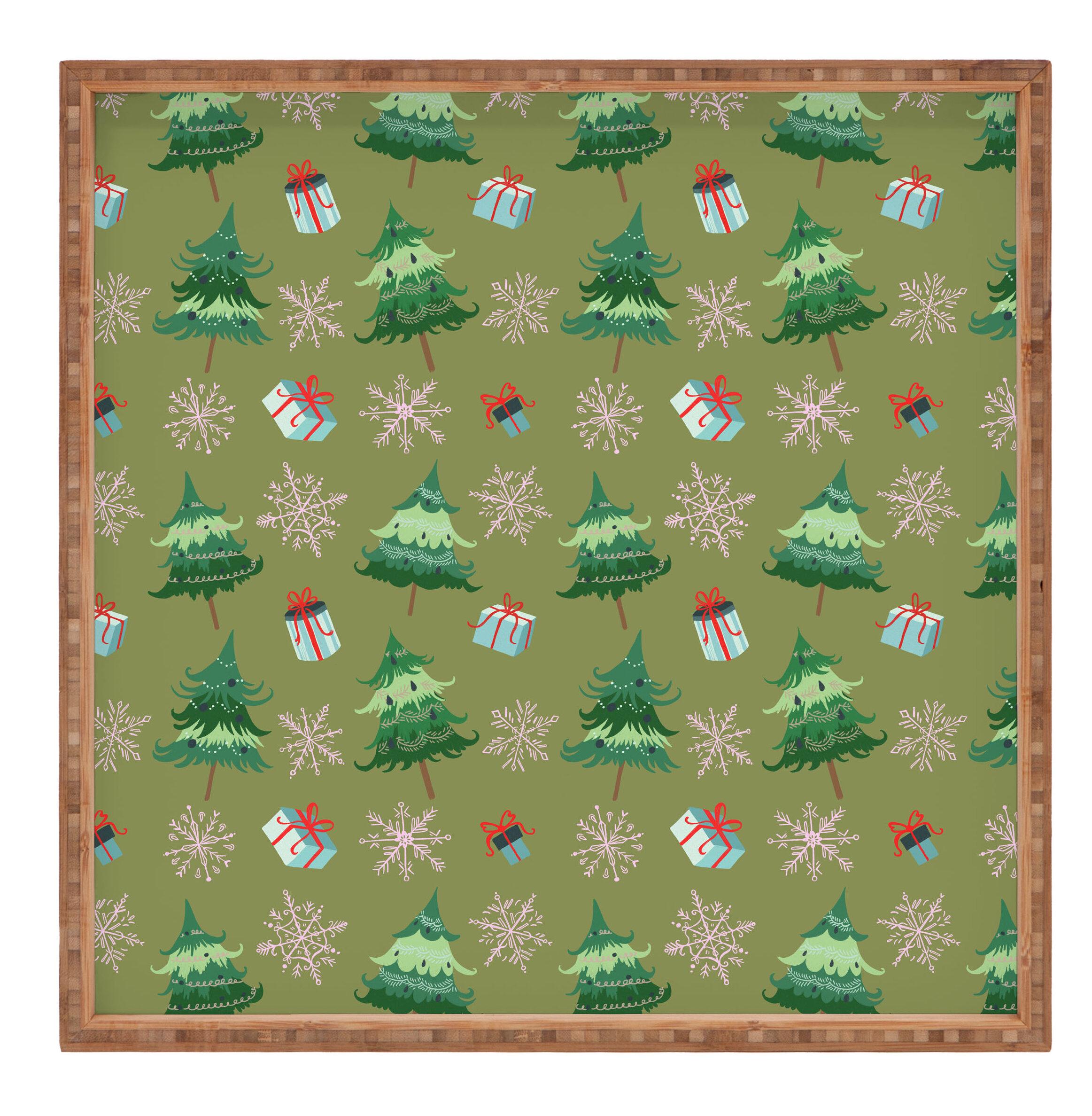 East Urban Home Christmas Trees And Snowflakes Tray Wayfair