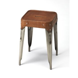 Portia Iron and Leather 18 Bar Stool by 17 Stories