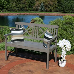 Mexborough 2-Person X-Back Patio Poplar Wood Garden Bench