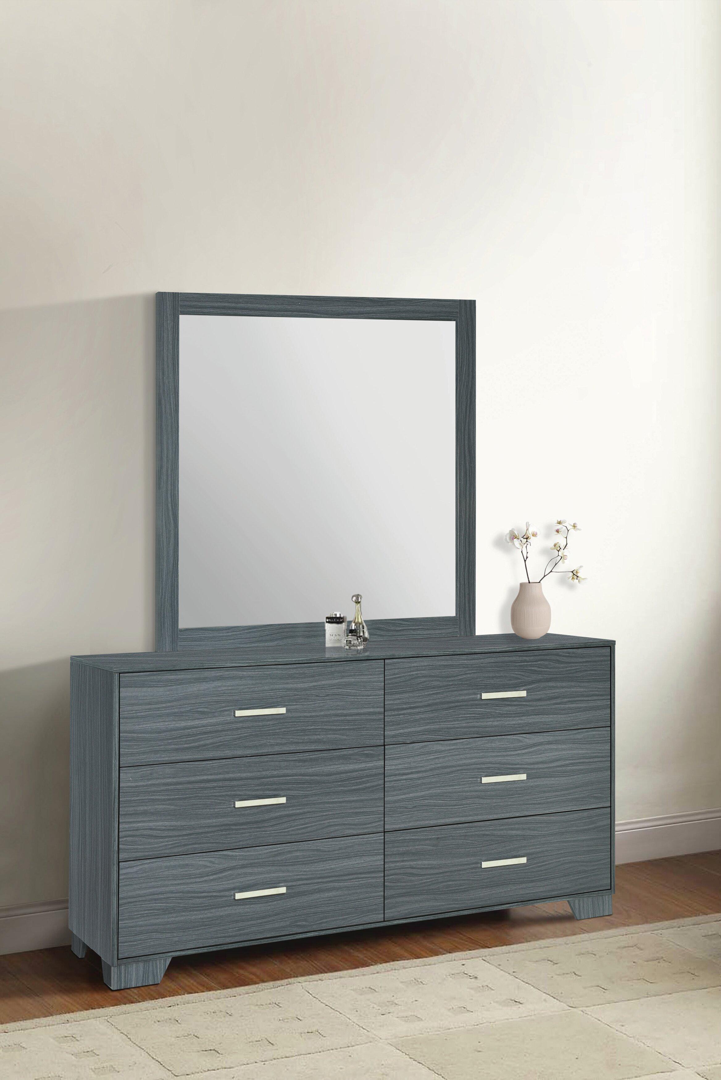 Orren Ellis Sanket 6 Drawer Double Dresser With Mirror Reviews Wayfair