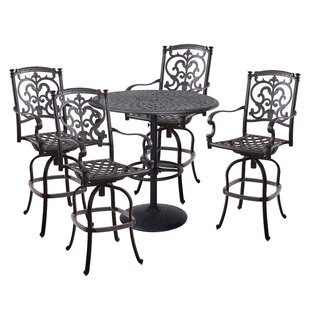 Astoria Grand Palazzo Sasso 5 Piece Bar Height Dining Set with Cushions