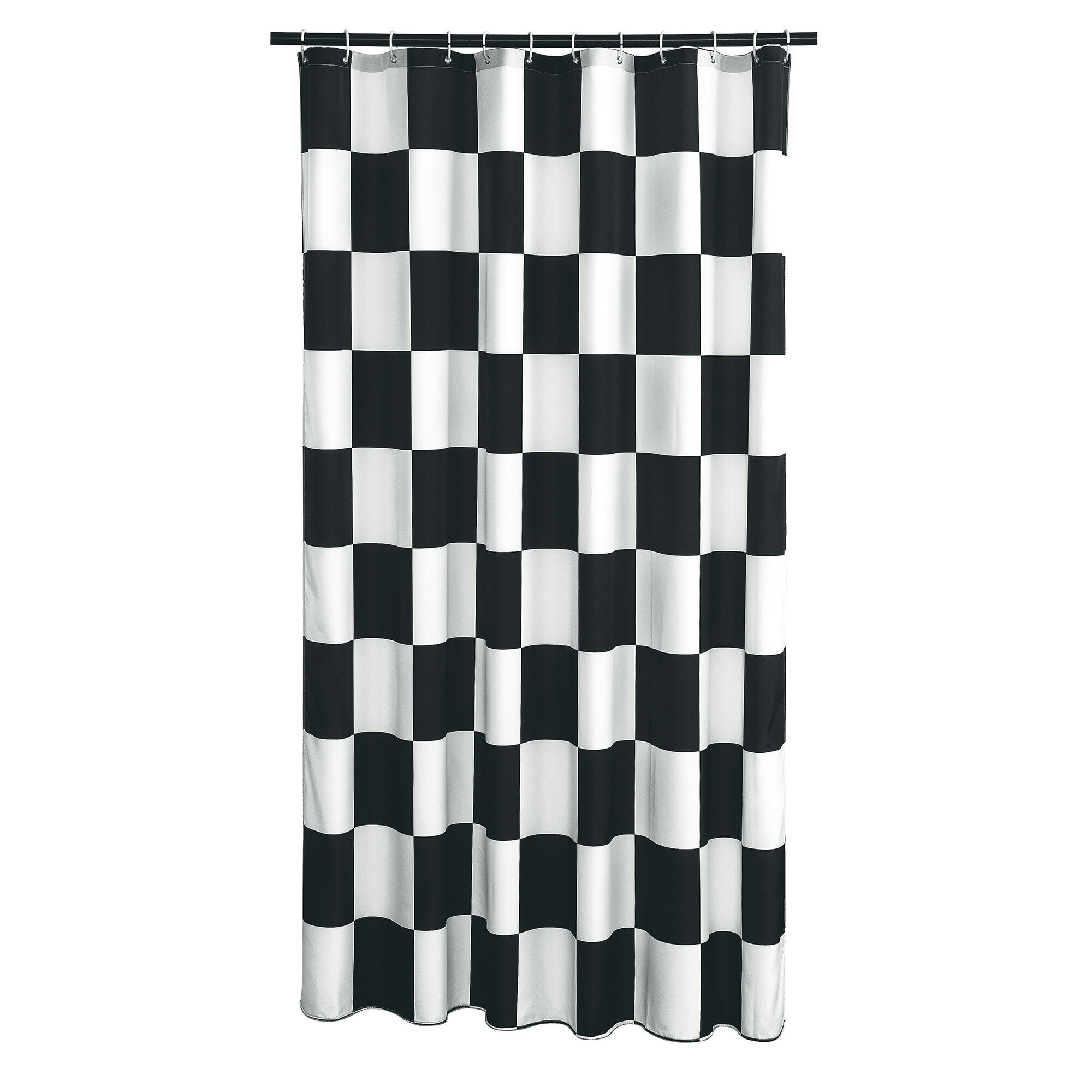 Ebern Designs Dripping Springs Checkered Flag Shower Curtain