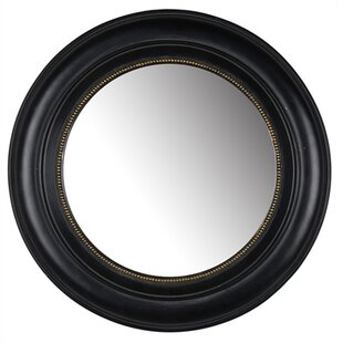 Round Black Polyresin Accent Mirror by Charlton Home