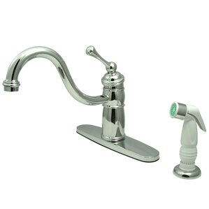 Kingston Brass Victorian Single Handle Kitchen Faucet with Non-Metallic Sprayer