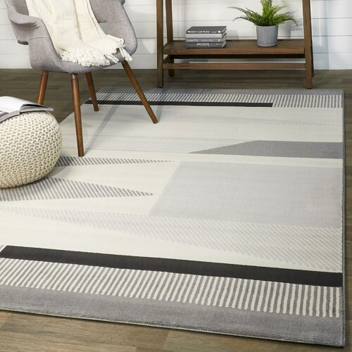 Wrought Studio Anacortes Abstract Gray Area Rug Reviews Wayfair
