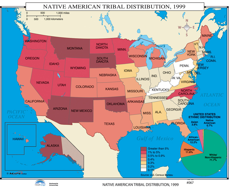 Universal Map U.S. History Wall Maps - Native American Tribal Distribution