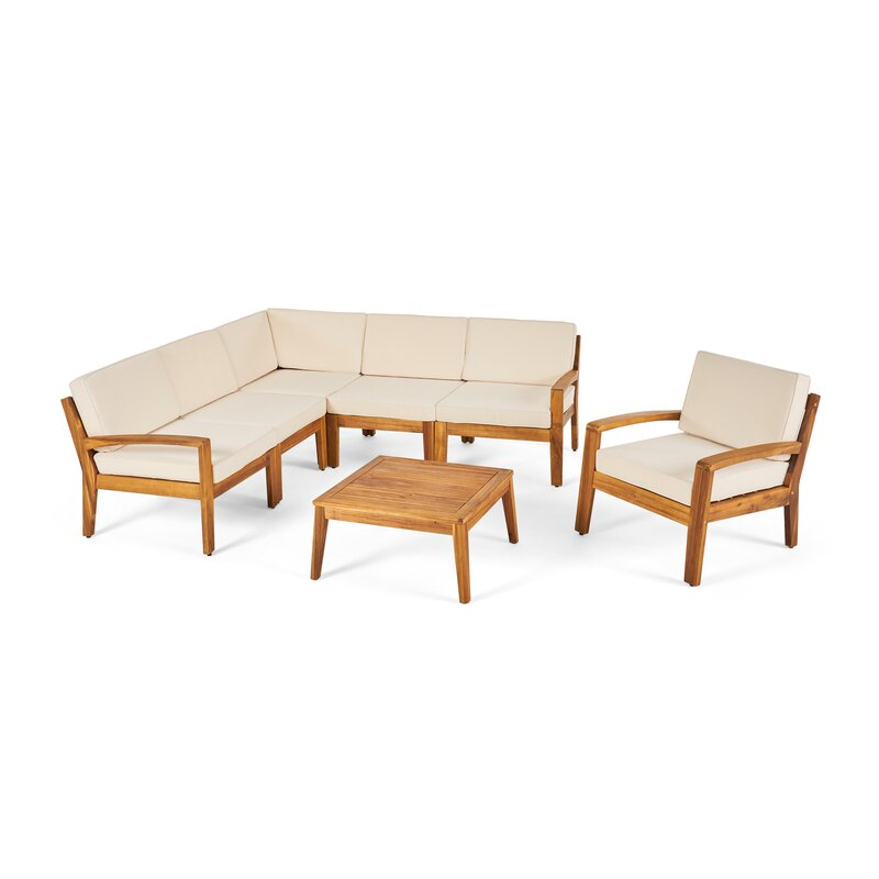 Longshore Tides  Jamie 6 Piece Sectional Seating Group with Cushion Cushion Color: Beige, Frame Finish: Teak