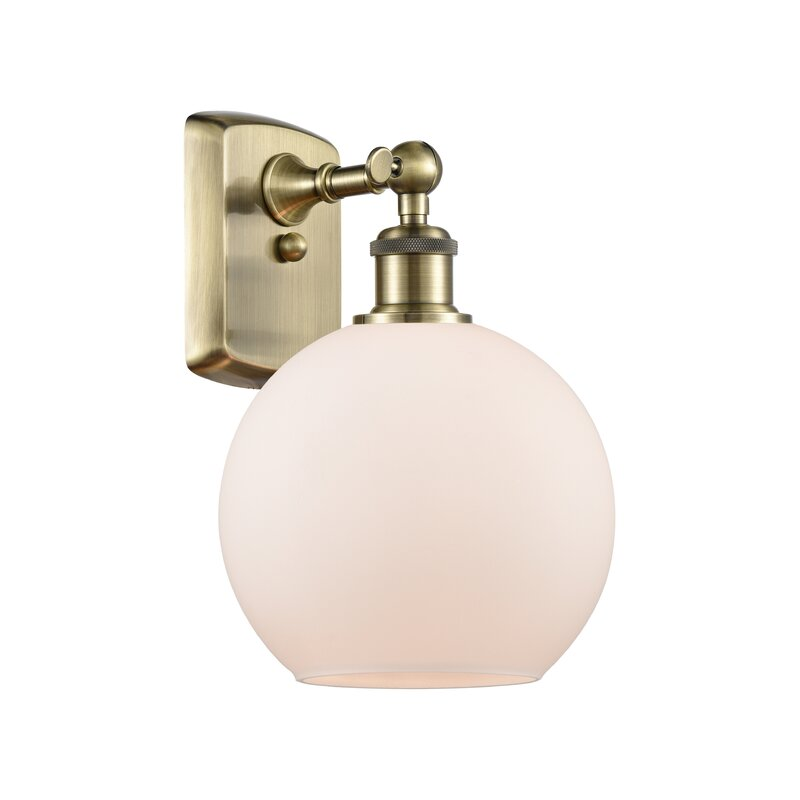 Weyauwega 1 - Light Dimmable Antique Brass Armed Sconce