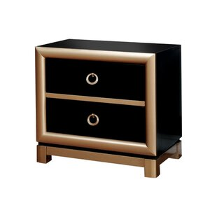 Keesee Wooden 2 Drawer Nightstand
