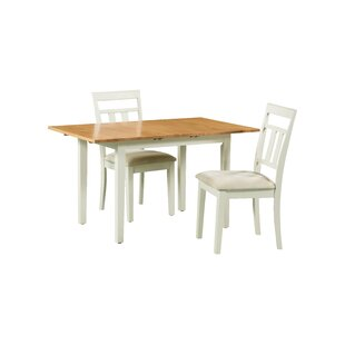 August Grove Shipe 3 Piece Extendable Solid Wood Dining Set