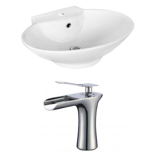 Royal Purple Bath Kitchen Ceramic Oval Vessel Bathroom Sink with Faucet and Overflow