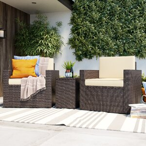 Belton 3 Piece Dark Brown Rattan Deep Seating Group with Cushions