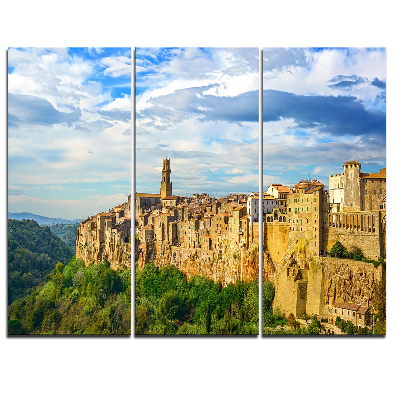 Designart Tuscany Pitigliano Medieval Village 3 Piece Graphic Art On Wrapped Canvas Set Wayfair