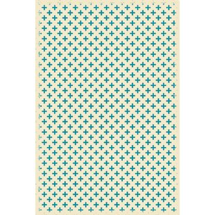 Read Reviews Frakes Elegant Cross Teal/White Indoor/Outdoor Area Rug By Wrought Studio