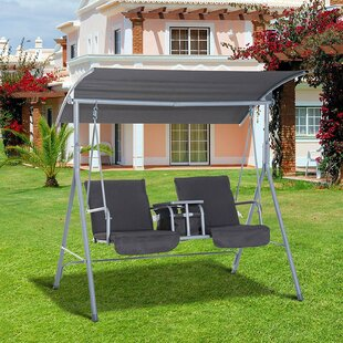 Laron Covered Patio Porch Swing with Stand