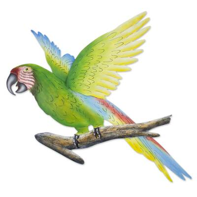 Alejandro De Esesarte Handmade Green Macaw Wall Decor