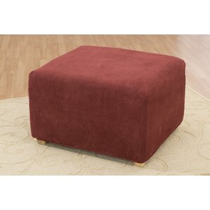 Stretch Pique Ottoman Slipcover by Sur..