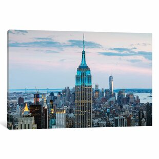 Empire State Building At Dusk Midtown New York City USA Photographic Print On Wrapped Canvas