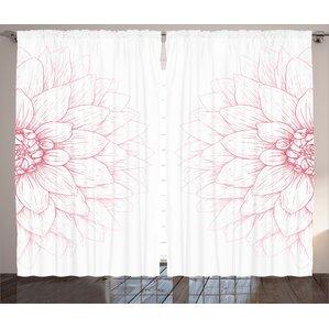 Sunflower Decor Nature / Floral Room Darkening Rod Pocket Curtain Panels