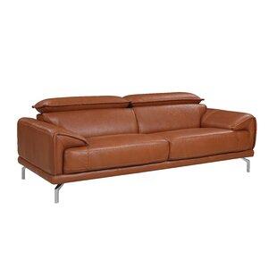 Orren Ellis Tawny Mid Century Modern Leather Sofa
