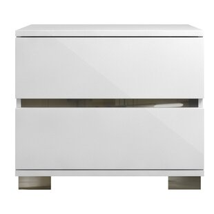 Whiting Acrylic Lacquer 2 Drawer Nightstand by Orren Ellis