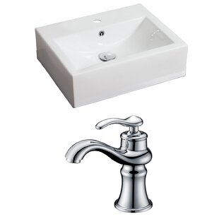 Affordable Price Ceramic 21 Wall Mount Bathroom Sink with Faucet and Overflow ByAmerican Imaginations