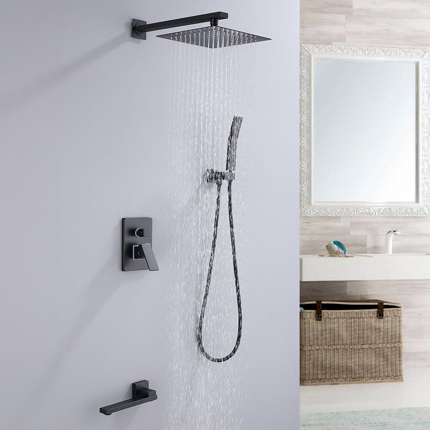 Rbrohant Matte Black Tub And Shower Faucet Set Rough In Valve Included Wayfair Ca