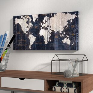 U0027Old World Map Blueu0027 Graphic Art On Wrapped Canvas