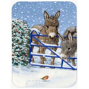 Donkeys and Robin Glass Cutting Board ByCaroline's Treasures