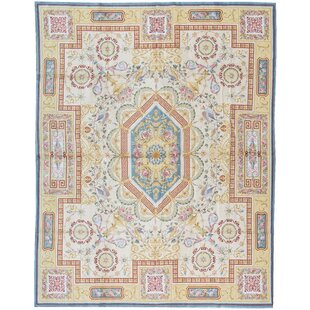 One-of-a-Kind Savonnerie Renaissance 11'10 x 15' Wool Beige Area Rug by Bokara Rug Co., Inc.