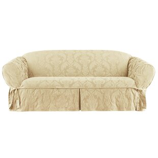 Matelasse Damask Box Cushion Sofa Slipcover