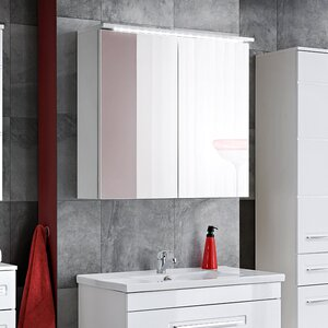 Wahiba 80 X 75 Cm Surface Mount Flat Mirror Cabinet With LED Lighting