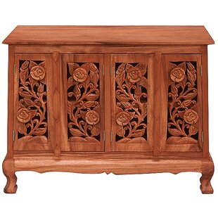 Handmade Acacia Vintage Roses Storage Accent Cabinet by EXP D?cor
