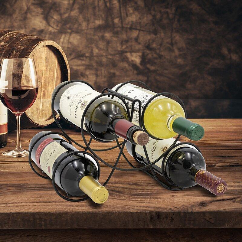 Winston Porter Chittick 4 Bottle Tabletop Wine Bottle Rack In Black Reviews Wayfair