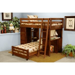 Ramos Twin Over Twin L-Shaped Bunk Bed with Desk and Chest Ends