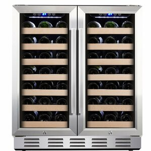 66 Bottle Dual Zone Built-in Wine Cooler by Kalamera