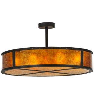Meyda Tiffany Greenbriar Oak 8-Light Semi-Flush Mount