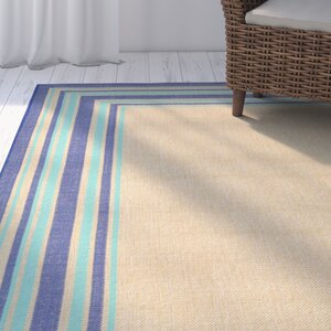 Clatterbuck Border Navy Blue/Baby Blue/Beige Indoor/Outdoor Area Rug