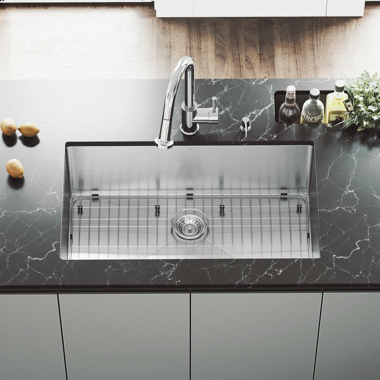 Vigo 32 Inch Undermount Single Bowl 16 Gauge Stainless Steel Kitchen Sink With Harrison Chrome Faucet Grid Strainer And Soap Dispenser Wayfair