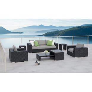 7 Piece Rattan Sofa Set with Cushions By Ove Decors