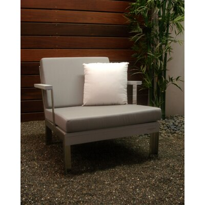 Etra Patio Chair with Cushions Modern Outdoor Frame: Powdercoated Steel, Surface: Black Polyboard, Fabric: Frost Grey
