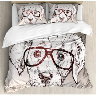 Modern Cute Hipster Puppy with Glasses Smart Dog Nerd Animal Humor Fun Graphic Design Duvet Cover Set