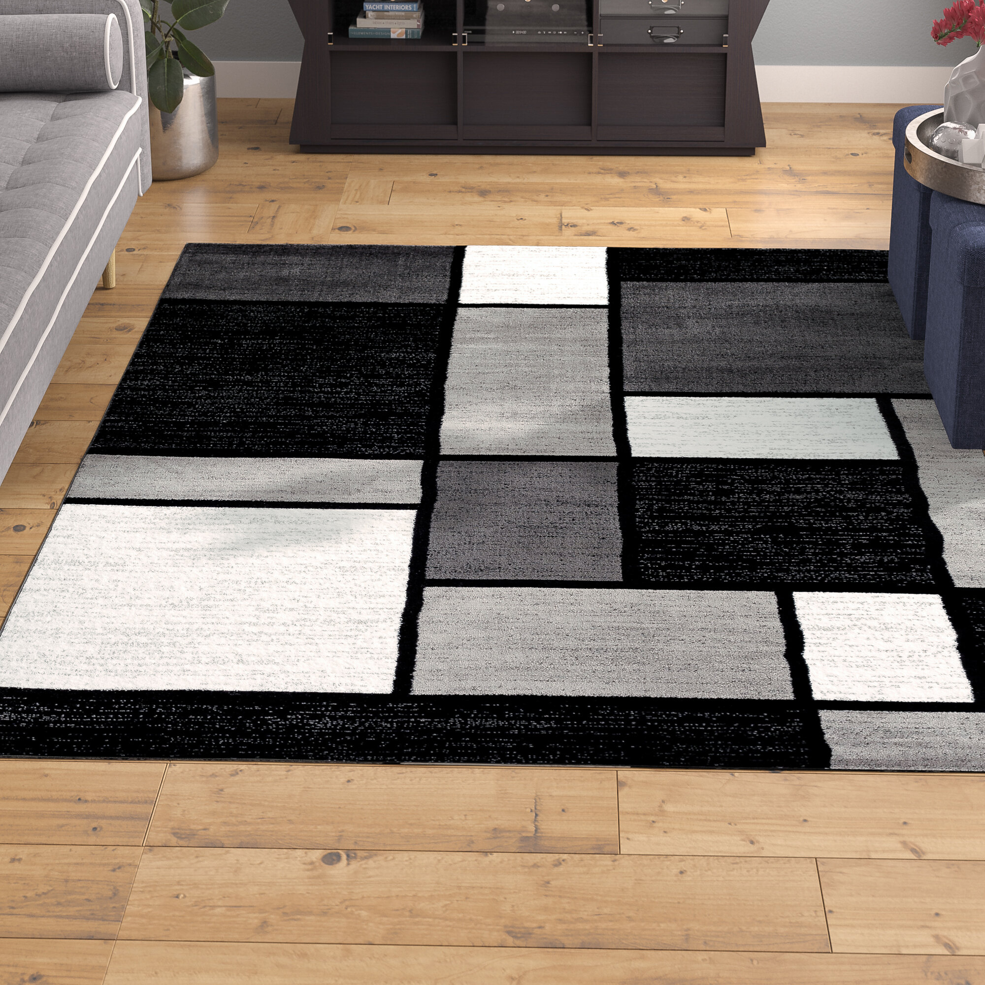 Lorenzo 1 Piece Machine Woven Gray Black White Indoor Area Rug