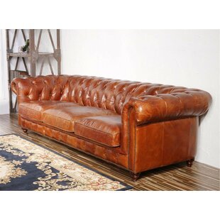 Genuine Leather Chester Bay Tufted Sofa