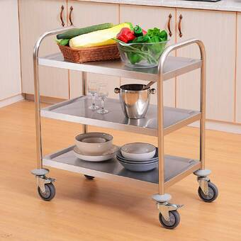 Blue Elephant Elystan Kitchen Trolley With Solid And Manufactured Wood Top Reviews Wayfair Co Uk