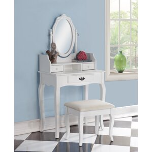 makeup vanity with lights and drawers. Emmett Ribbon Wood Makeup Vanity Set with Mirror Tables and Vanities You ll Love  Wayfair