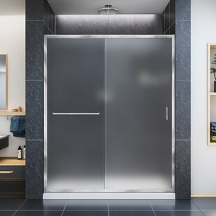 DreamLine Infinity-Z 32 in. D x 54 in. W x 74 3/4 in. H Frosted Sliding Shower Door