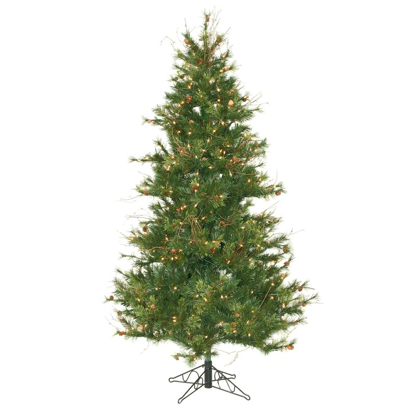 mixed country pine slim 65 green artificial christmas tree with 400 clear lights with stand - Christmas Tree Slim