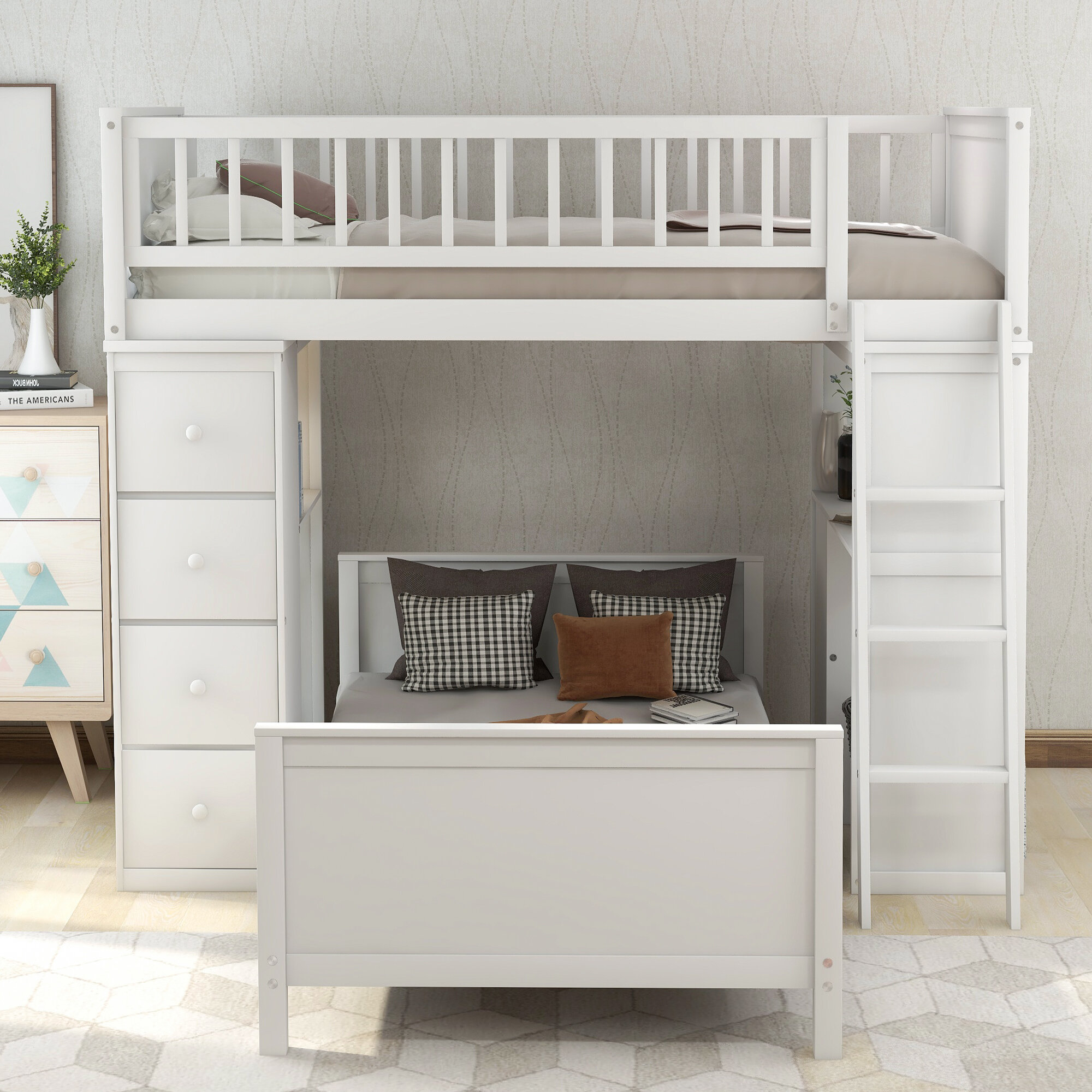 Picture of: Harriet Bee Ethaniel Twin Over Twin L Shaped Bunk Bed With Desk And 4 Drawers Reviews