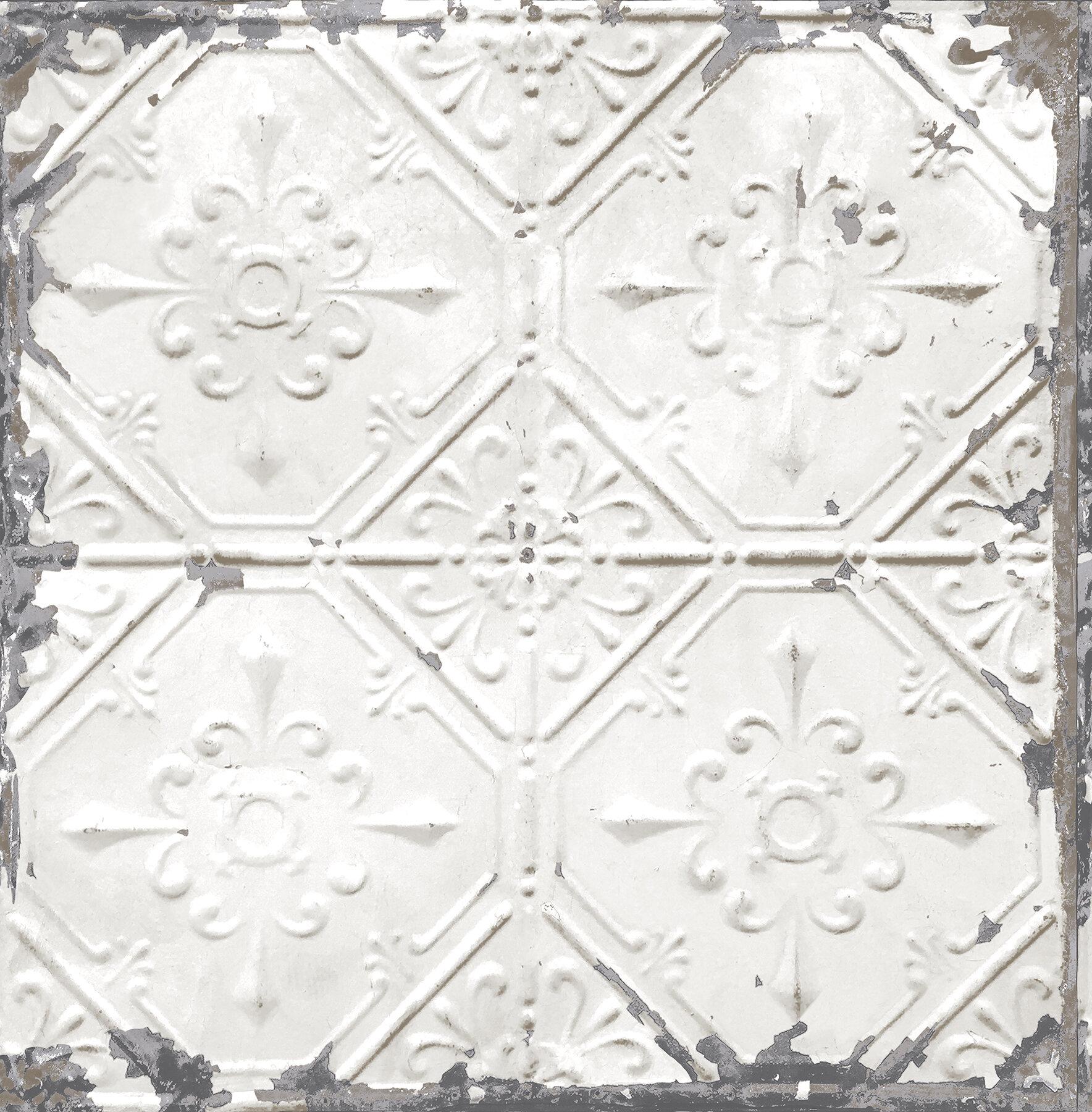 brewster home fashions tin ceiling distressed 33 x 20 5 geometric